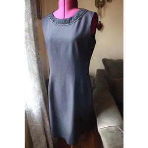NWOT Tahari Black Fitted Career Chain Neck Dress !